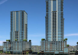 Rendering of two condo towers with trees on the roofs at the lower levels of Virerra Village
