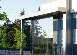 Two small trees on grass patch in front of glass walled industrial building