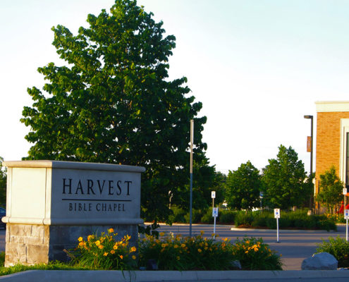 Stone Sign outside of Harvest Bible in Oakville