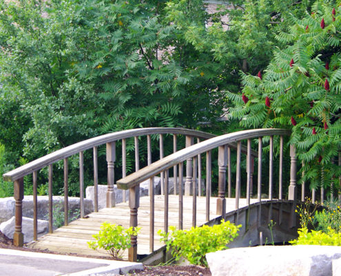 Small wooden arch bridge suspended over a pond with a walking trail leading into the woods.