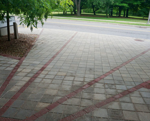 Permeable paving sidewalk leading to the front doors of the Environment building at the University of Waterloo