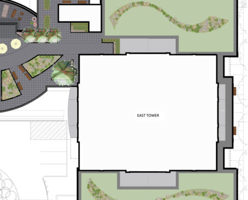 Green Roof plan for the east tower at Trinity Ravine Towers