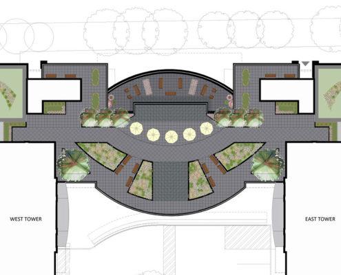Podium Amenity Terrace bridging the two Trinity Ravine Towers