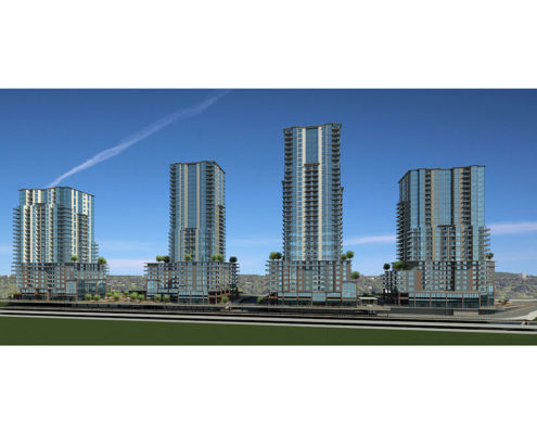 Rendering of the four completed buildings at Virerra Village