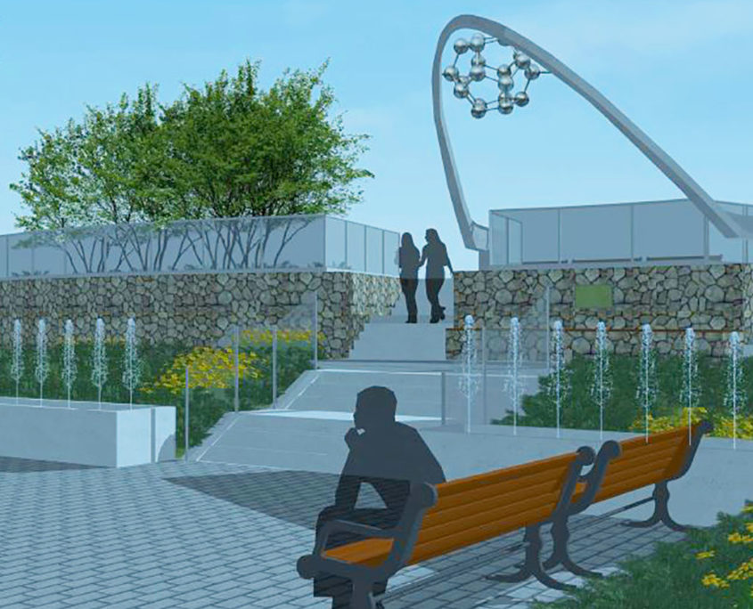 3D rendering of stone seating area at the base of the steps leading up to The Centennial Molecule sculpture and water feature at David A. Balfour Park