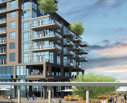Rendering of condos with balconies overlooking a functionally designed outdoor seating area