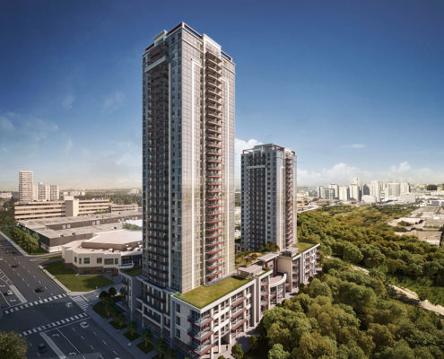 Rendering of two Trinity Ravine Tower condo buildings with a green roof and surrounded by trees on 2 sides of the building