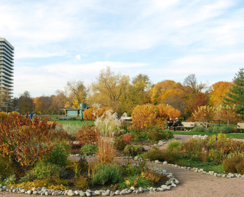 Fall colours at David A. Balfour Park with a walking path around the many circular gardens with people sitting at the park bench