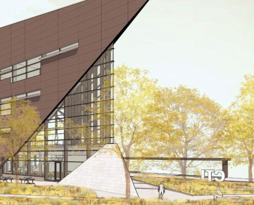 Rendering of Humber College Barrett Centre tip of building designed to look like a ships bow with an equal mixture of glass and siding