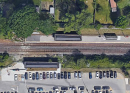 Overhead view of Cooksville Go Station prior to construction