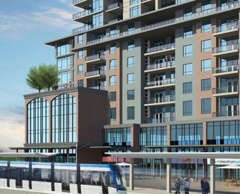 A rendering of a Light Rail Transit train stopping in front of the condo building of Virerra Village