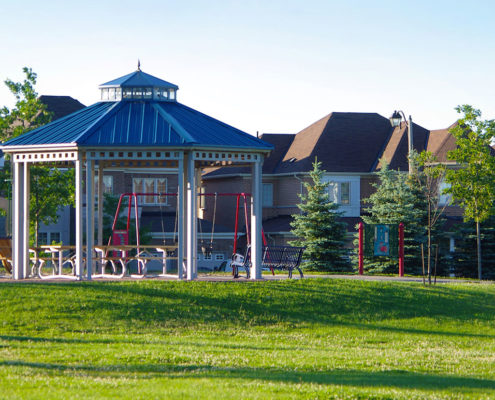 Gazebo sits atop a grassy slope in the Gates of Countryside subdivision