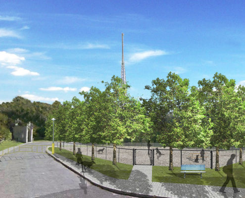 A Rendering of the dor park at Winston Churchill Park with newly laid stone walkways and trees neatly spaced around the fence