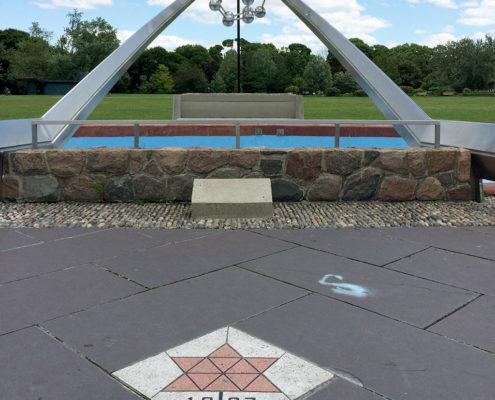The Centennial Molecule sculpture and water feature at David A. Balfour Park