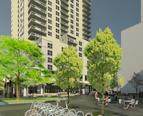 A rendering of trees is soil cells surrounding an outdoor courtyard in front of the condo building Vierra Village