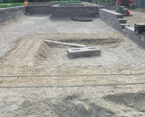 Stone being laid for the redesigned gardens in Sir Winston Churchill Park