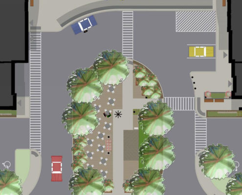 Urban design concept of amenity area between the two Trinity Ravine Towers