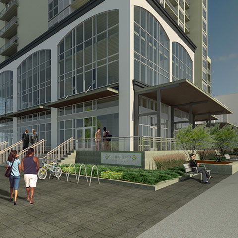 3D rendering of condo building with commercial space located at ground level by Brodie and Associates landscape architects