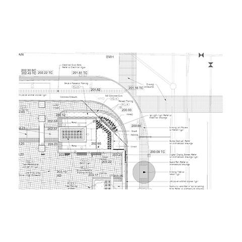 Detailed landscape architecture design plan by Brodie and Associates Landscape Architects