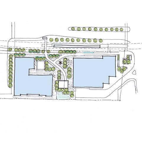 Concept sketch of landscaped area