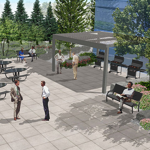 Rendering of outdoor seating area with benches and BBQs on large paver stones