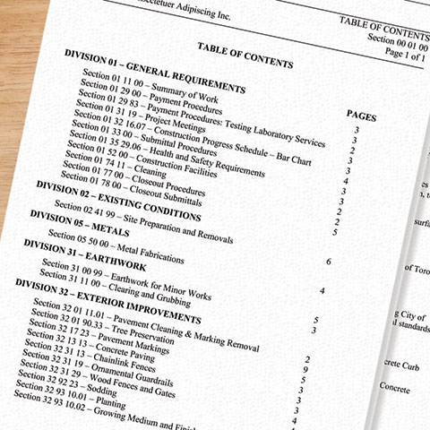 Sample contract document table of contents