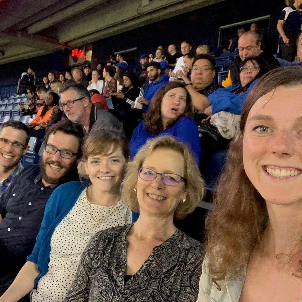Brodie and Associates Landscape Architect team- Nate, Carleigh, Helle, and Hailey at a Blue Jays game