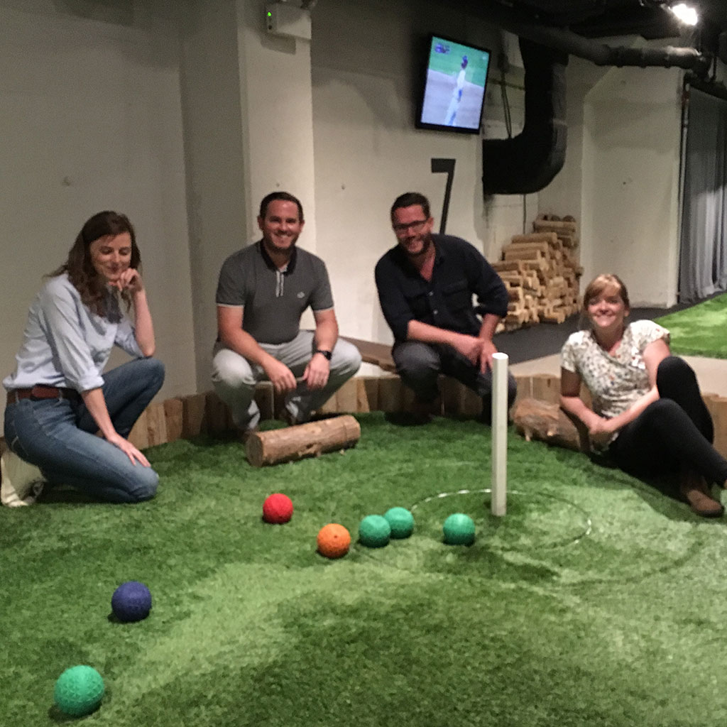 Staff members enjoying a game of Bocce in Toronto