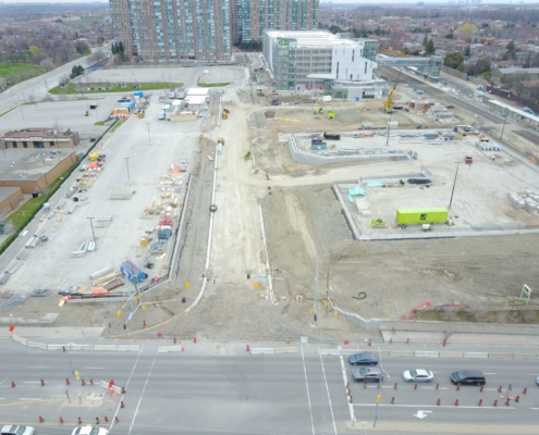 View of the overall site of Cooksville Go Station under construction
