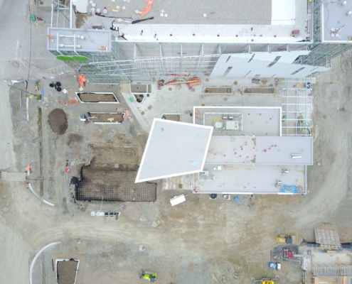 Overhead view of soil cell installation at Cooksville Go Station